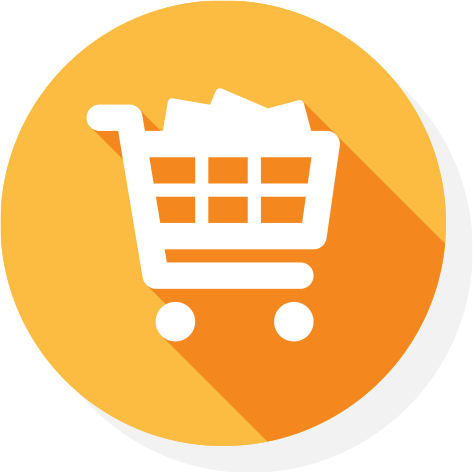 a white icon of a shopping trolley with groceries on yellow background
