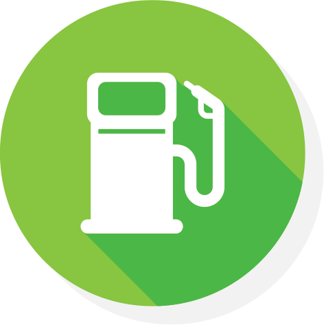 a white icon of a petrol bowser on green background