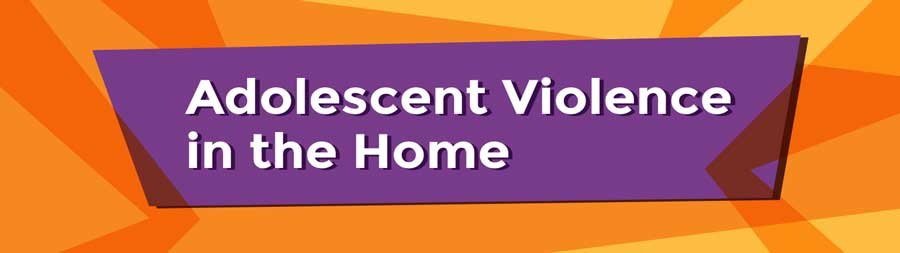 White words Adolescent Violence in the Home on a purple trapezium shape with jagged orange shapes in the background that suggest something broken