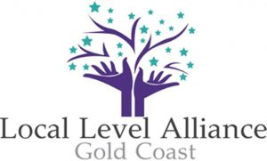 Local Level Alliance, two hands outstretched like the trunk and branches of a tree with green stars for leaves