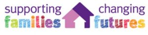 supporting families changing futures - colourful words around 3 overlapping purple house icons