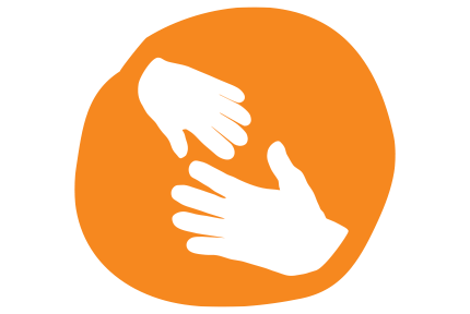 an adult and a child's hand reaching out on a hand drawn orange circle