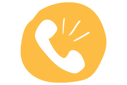 white telephone with sound waves on a hand drawn yellow circle