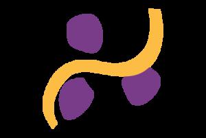 a yellow wavey line between three purple dots